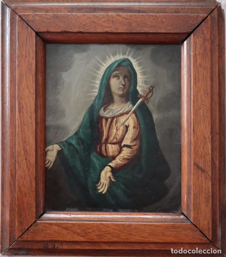 VIRGEN DE LOS DOLORES. ÓLEO SOBRE COBRE. ESCUELA ESPAÑOLA DEL SIGLO XVIII. MIDE 16 X 13 CM. (Arte - Arte Religioso - Pintura Religiosa - Oleo)