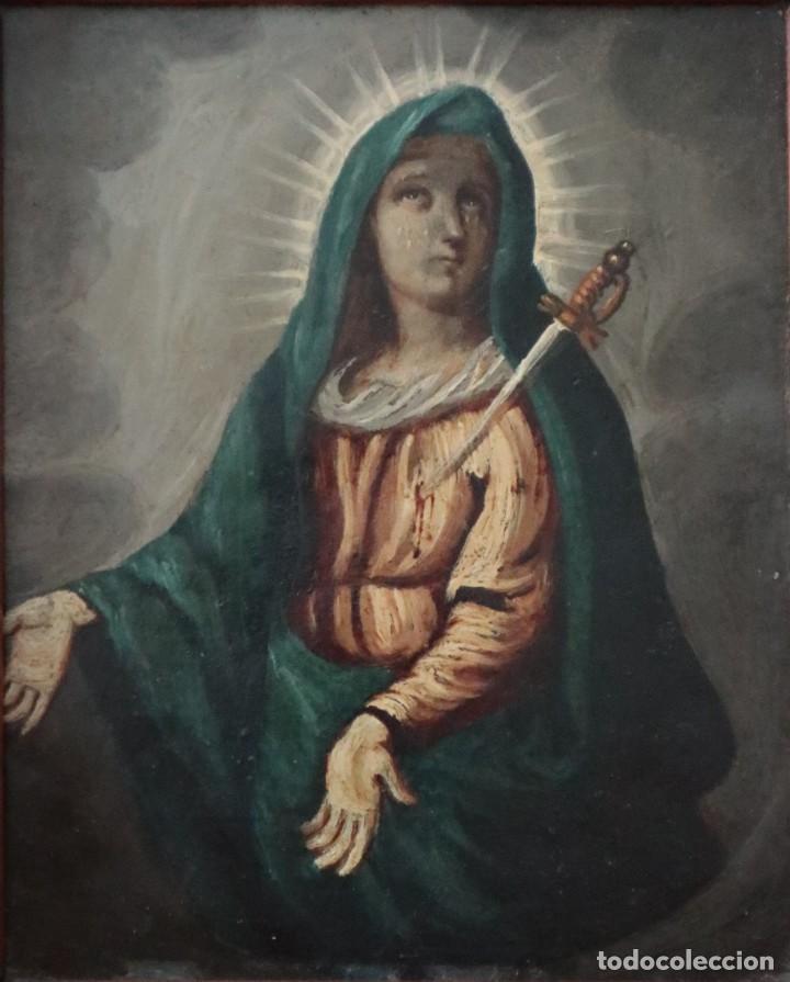 Arte: Virgen de los Dolores. Óleo sobre cobre. Escuela Española del siglo XVIII. Mide 16 x 13 cm. - Foto 2 - 234765440