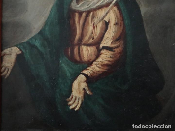 Arte: Virgen de los Dolores. Óleo sobre cobre. Escuela Española del siglo XVIII. Mide 16 x 13 cm. - Foto 7 - 234765440