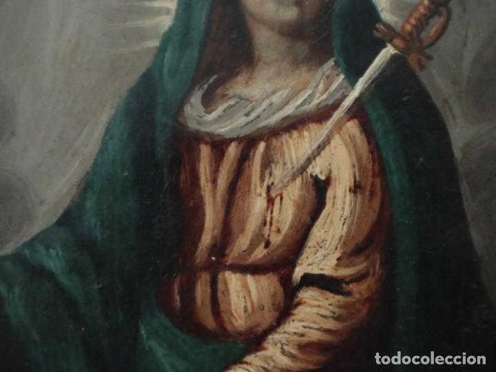 Arte: Virgen de los Dolores. Óleo sobre cobre. Escuela Española del siglo XVIII. Mide 16 x 13 cm. - Foto 8 - 234765440