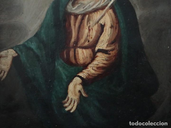 Arte: Virgen de los Dolores. Óleo sobre cobre. Escuela Española del siglo XVIII. Mide 16 x 13 cm. - Foto 9 - 234765440