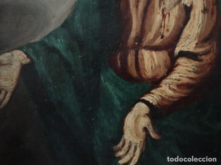 Arte: Virgen de los Dolores. Óleo sobre cobre. Escuela Española del siglo XVIII. Mide 16 x 13 cm. - Foto 10 - 234765440