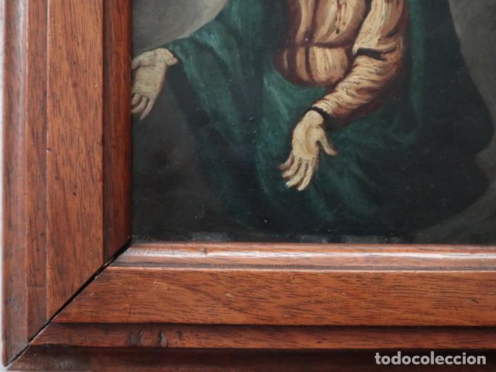 Arte: Virgen de los Dolores. Óleo sobre cobre. Escuela Española del siglo XVIII. Mide 16 x 13 cm. - Foto 12 - 234765440