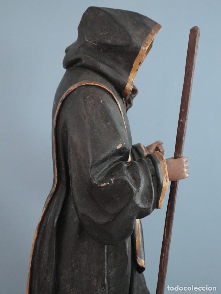 SAN FRANCISCO DE PAULA. ESCULTURA EN MADERA TALLADA Y POLICROMADA. MIDE 82 CM. S. XVIII. (Arte - Arte Religioso - Escultura)
