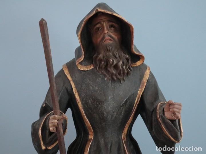 Arte: San Francisco de Paula. Escultura en madera tallada y policromada. Mide 82 cm. S. XVIII. - Foto 3 - 234766870