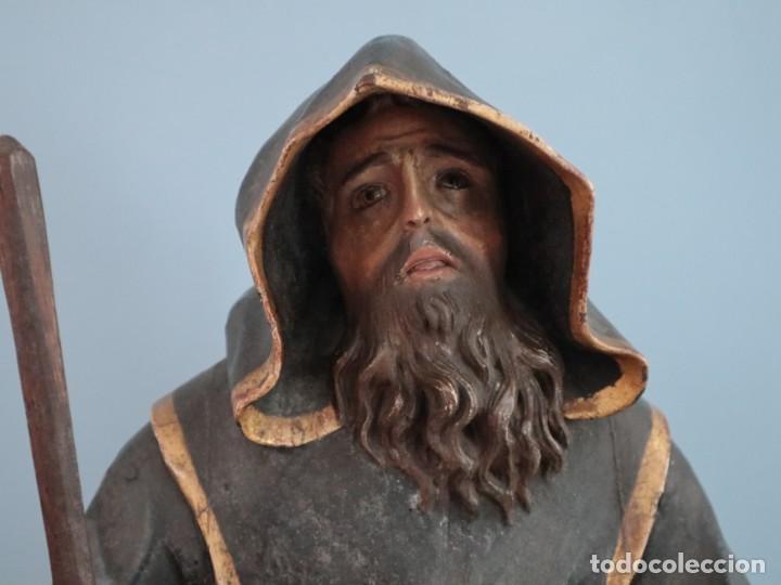 Arte: San Francisco de Paula. Escultura en madera tallada y policromada. Mide 82 cm. S. XVIII. - Foto 4 - 234766870