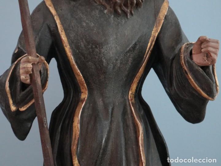 Arte: San Francisco de Paula. Escultura en madera tallada y policromada. Mide 82 cm. S. XVIII. - Foto 6 - 234766870