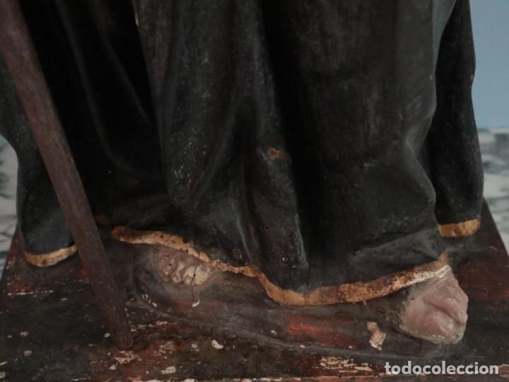 Arte: San Francisco de Paula. Escultura en madera tallada y policromada. Mide 82 cm. S. XVIII. - Foto 7 - 234766870