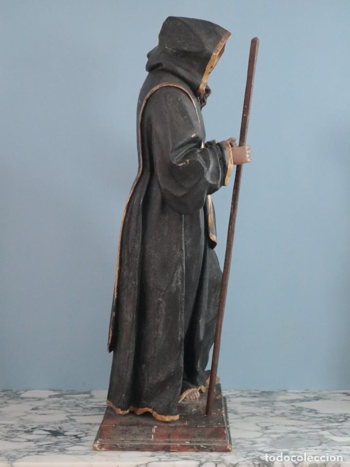 Arte: San Francisco de Paula. Escultura en madera tallada y policromada. Mide 82 cm. S. XVIII. - Foto 8 - 234766870