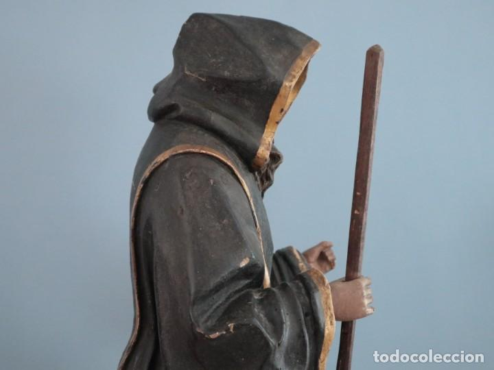 Arte: San Francisco de Paula. Escultura en madera tallada y policromada. Mide 82 cm. S. XVIII. - Foto 9 - 234766870