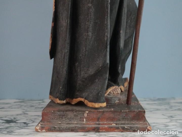 Arte: San Francisco de Paula. Escultura en madera tallada y policromada. Mide 82 cm. S. XVIII. - Foto 10 - 234766870