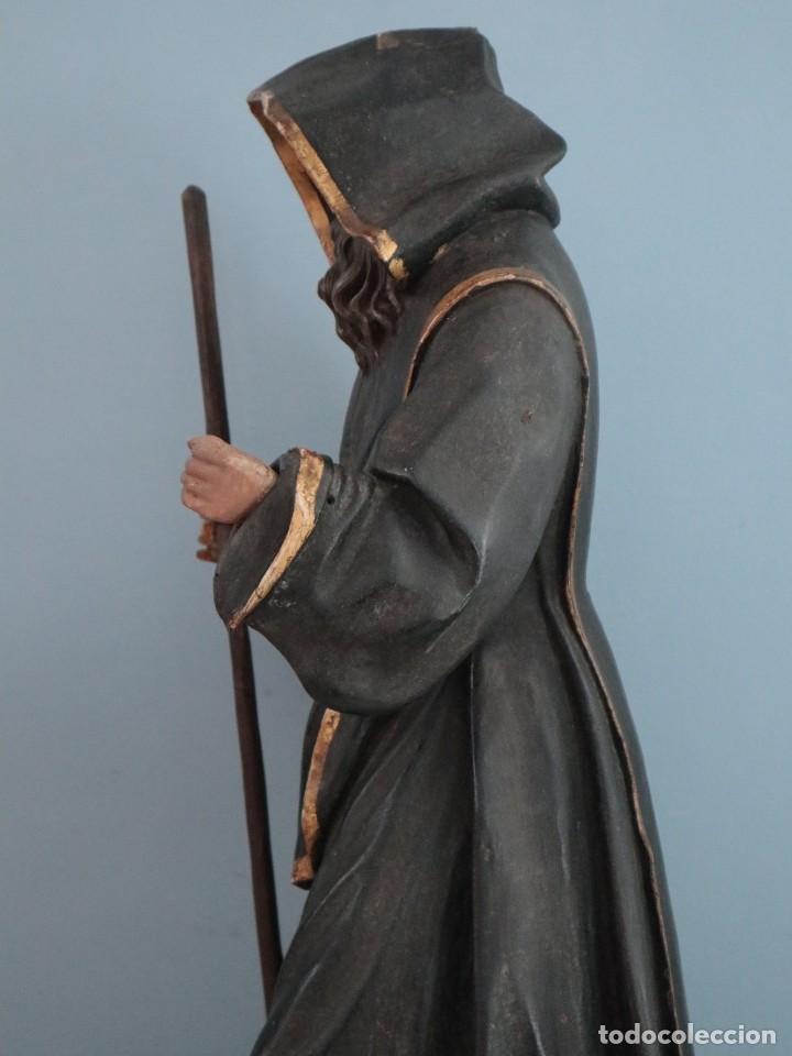 Arte: San Francisco de Paula. Escultura en madera tallada y policromada. Mide 82 cm. S. XVIII. - Foto 12 - 234766870