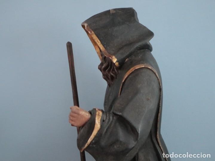Arte: San Francisco de Paula. Escultura en madera tallada y policromada. Mide 82 cm. S. XVIII. - Foto 13 - 234766870