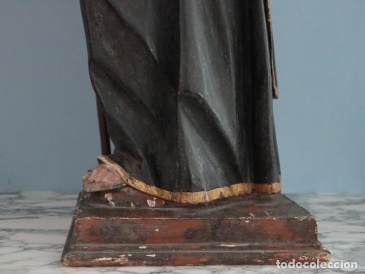 Arte: San Francisco de Paula. Escultura en madera tallada y policromada. Mide 82 cm. S. XVIII. - Foto 14 - 234766870