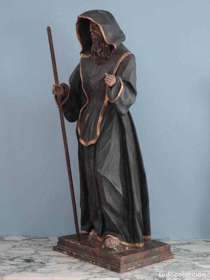 Arte: San Francisco de Paula. Escultura en madera tallada y policromada. Mide 82 cm. S. XVIII. - Foto 15 - 234766870