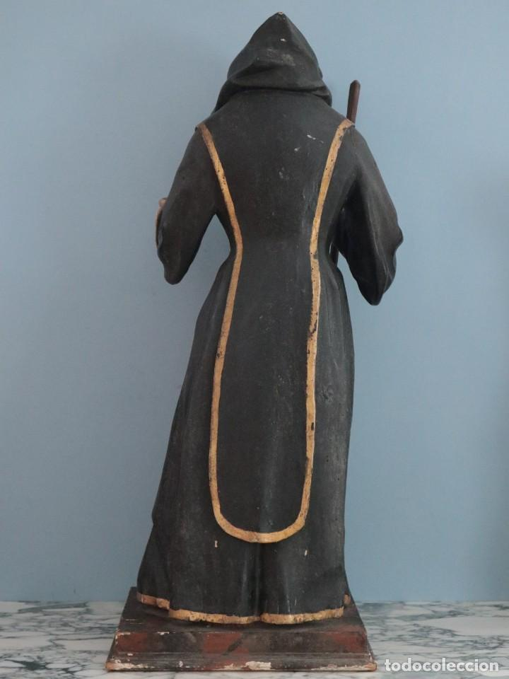 Arte: San Francisco de Paula. Escultura en madera tallada y policromada. Mide 82 cm. S. XVIII. - Foto 16 - 234766870