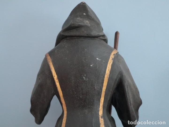 Arte: San Francisco de Paula. Escultura en madera tallada y policromada. Mide 82 cm. S. XVIII. - Foto 17 - 234766870