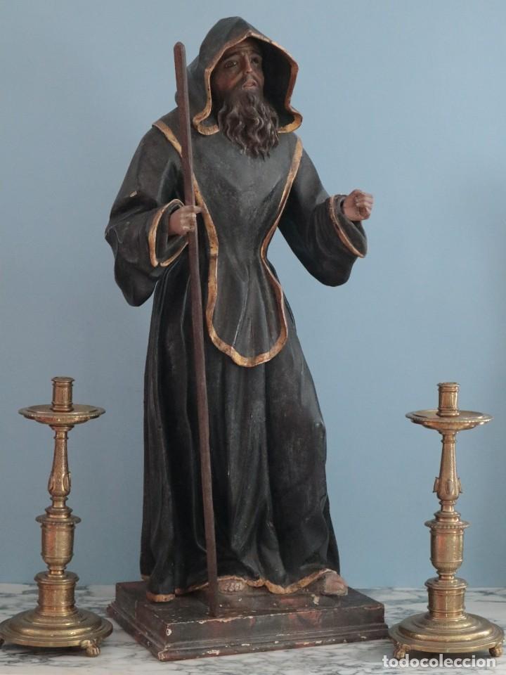 Arte: San Francisco de Paula. Escultura en madera tallada y policromada. Mide 82 cm. S. XVIII. - Foto 19 - 234766870