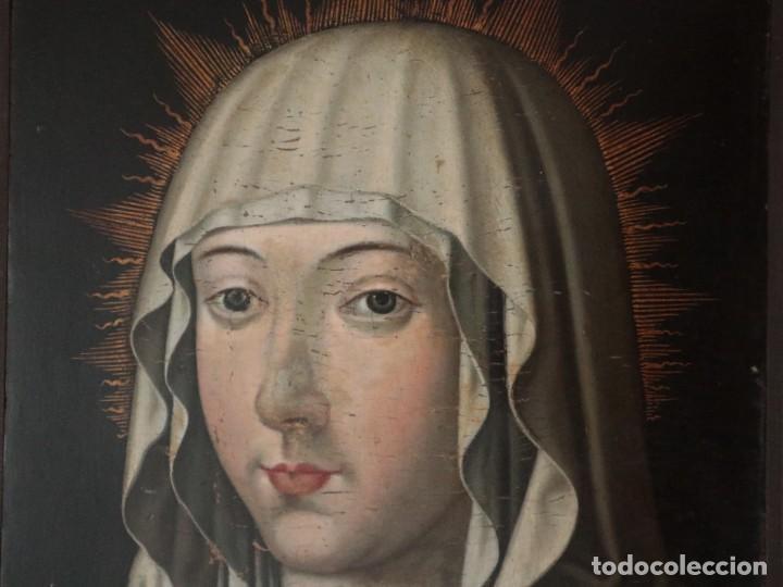 Arte: Retrato de la Virgen María. Escuela Española del siglo XVI. Óleo sobre tabla. Med: 34 x 27 cm. - Foto 3 - 48221032