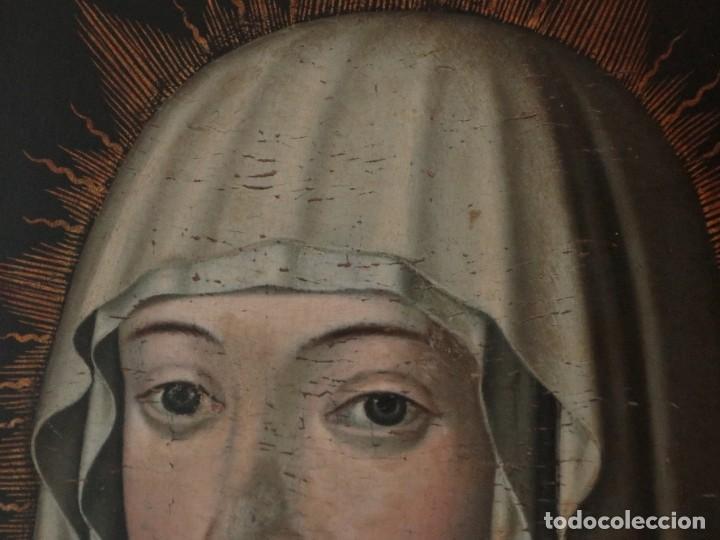 Arte: Retrato de la Virgen María. Escuela Española del siglo XVI. Óleo sobre tabla. Med: 34 x 27 cm. - Foto 4 - 48221032
