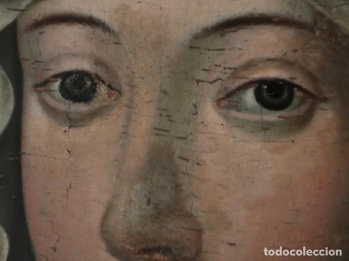 Arte: Retrato de la Virgen María. Escuela Española del siglo XVI. Óleo sobre tabla. Med: 34 x 27 cm. - Foto 5 - 48221032