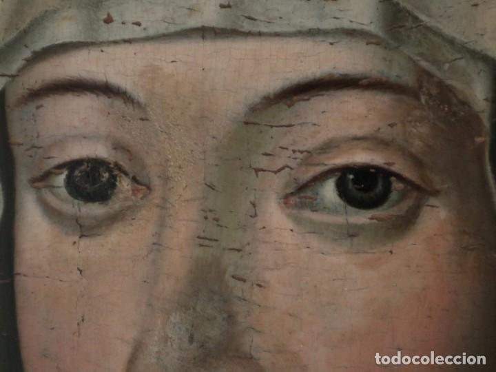 Arte: Retrato de la Virgen María. Escuela Española del siglo XVI. Óleo sobre tabla. Med: 34 x 27 cm. - Foto 6 - 48221032