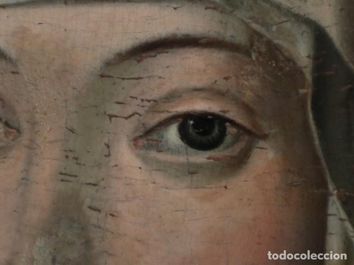 Arte: Retrato de la Virgen María. Escuela Española del siglo XVI. Óleo sobre tabla. Med: 34 x 27 cm. - Foto 7 - 48221032