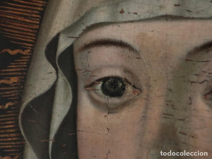 Arte: Retrato de la Virgen María. Escuela Española del siglo XVI. Óleo sobre tabla. Med: 34 x 27 cm. - Foto 8 - 48221032