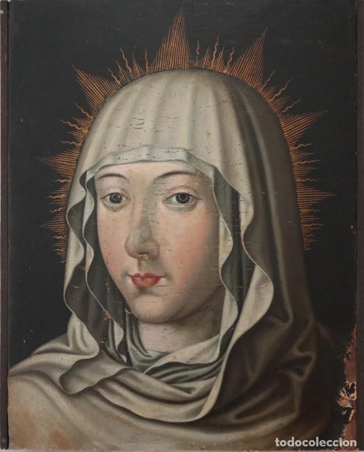 RETRATO DE LA VIRGEN MARÍA. ESCUELA ESPAÑOLA DEL SIGLO XVI. ÓLEO SOBRE TABLA. MED: 34 X 27 CM. (Arte - Arte Religioso - Pintura Religiosa - Oleo)
