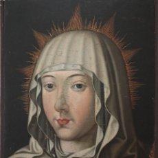 Arte: RETRATO DE LA VIRGEN MARÍA. ESCUELA ESPAÑOLA DEL SIGLO XVI. ÓLEO SOBRE TABLA. MED: 34 X 27 CM.. Lote 48221032