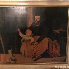 """Arte: CUADRO DE ÓLEO SOBRE TABLA """"SAN ANTONIO CON EL NIÑO"""" DE FEDERICO RAMÍREZ, 1962.. Lote 234805895"""