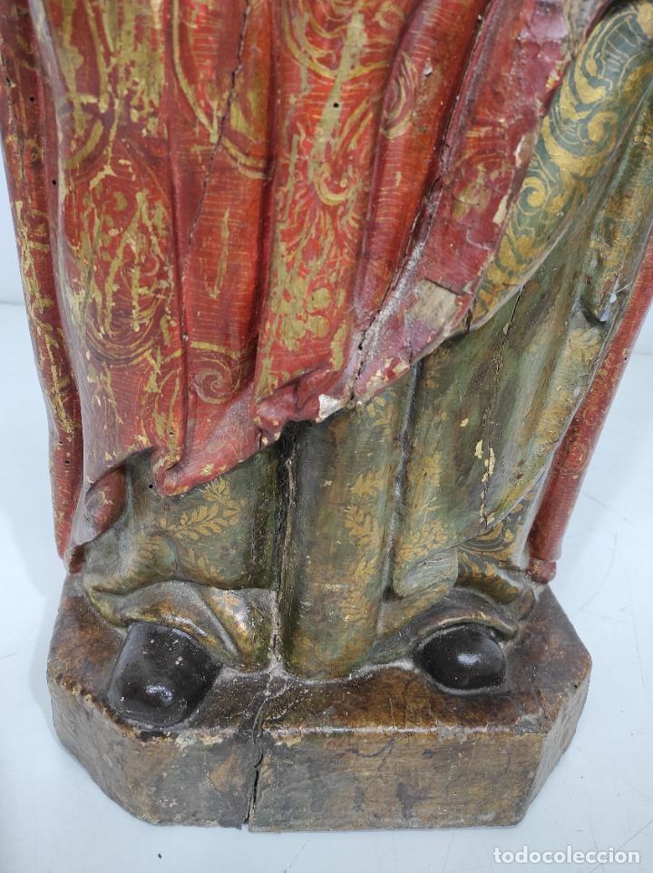 Arte: Santa Lucia - Talla de Madera Policromada y Dorada - Escuela Española - Altura 116 cm - S. XVII - Foto 2 - 234898530