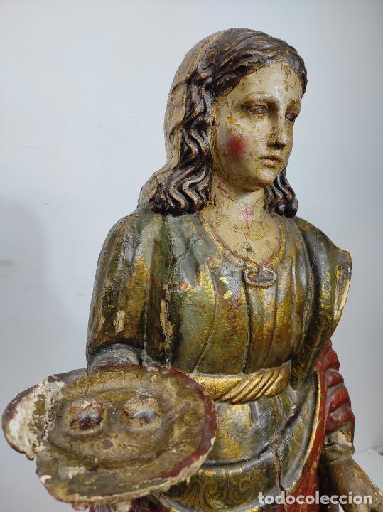 Arte: Santa Lucia - Talla de Madera Policromada y Dorada - Escuela Española - Altura 116 cm - S. XVII - Foto 6 - 234898530