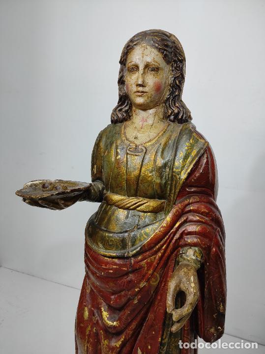 Arte: Santa Lucia - Talla de Madera Policromada y Dorada - Escuela Española - Altura 116 cm - S. XVII - Foto 9 - 234898530