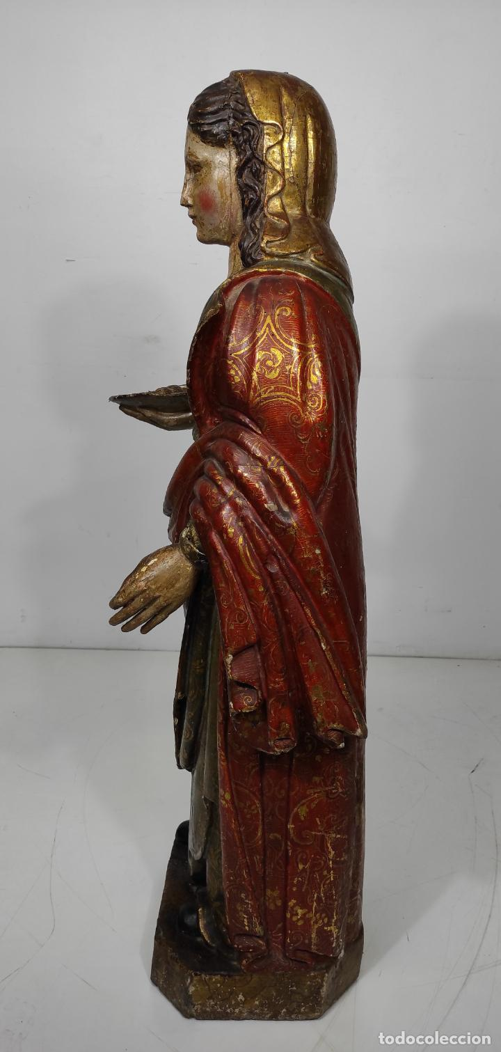 Arte: Santa Lucia - Talla de Madera Policromada y Dorada - Escuela Española - Altura 116 cm - S. XVII - Foto 10 - 234898530