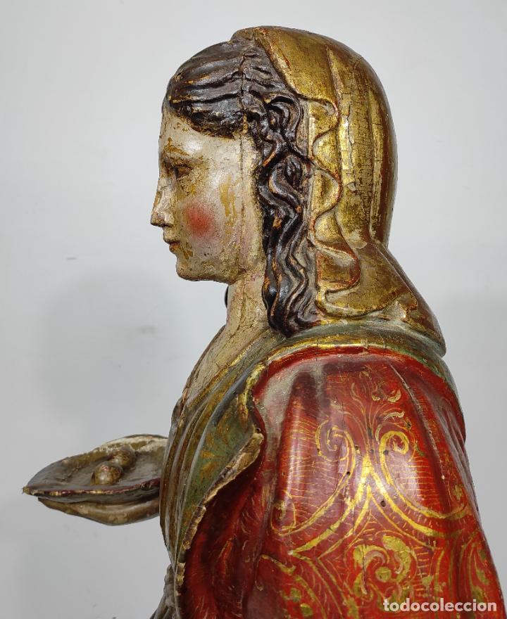 Arte: Santa Lucia - Talla de Madera Policromada y Dorada - Escuela Española - Altura 116 cm - S. XVII - Foto 12 - 234898530
