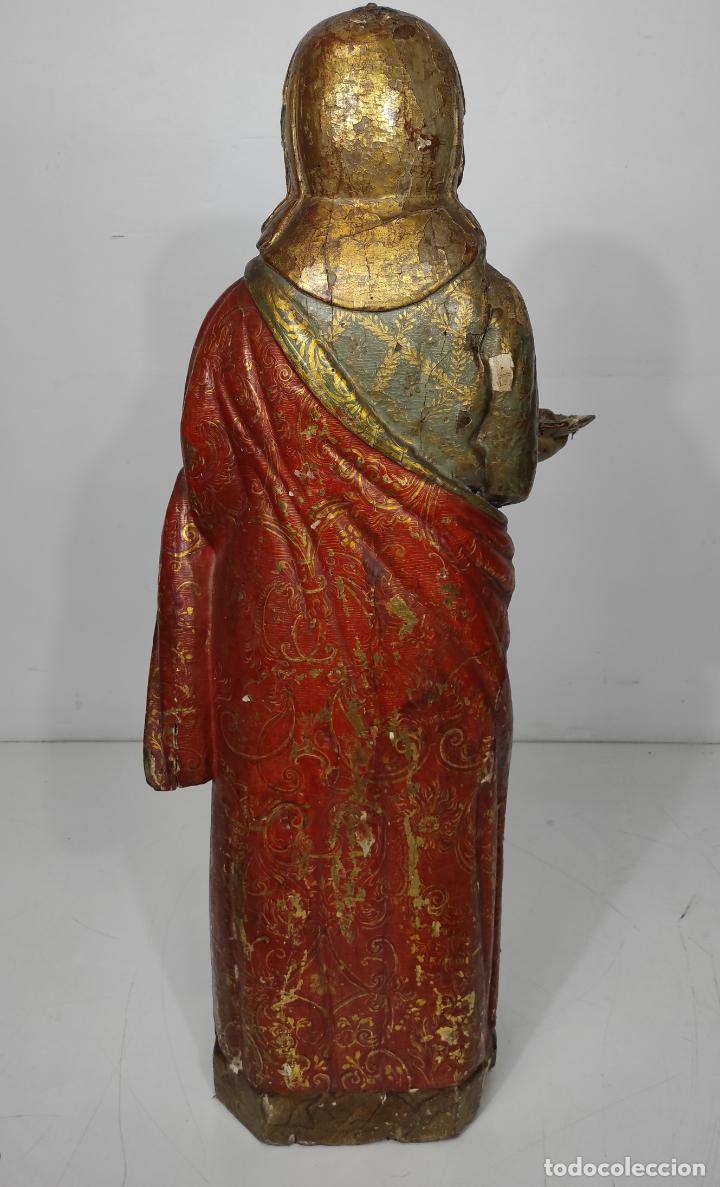 Arte: Santa Lucia - Talla de Madera Policromada y Dorada - Escuela Española - Altura 116 cm - S. XVII - Foto 14 - 234898530