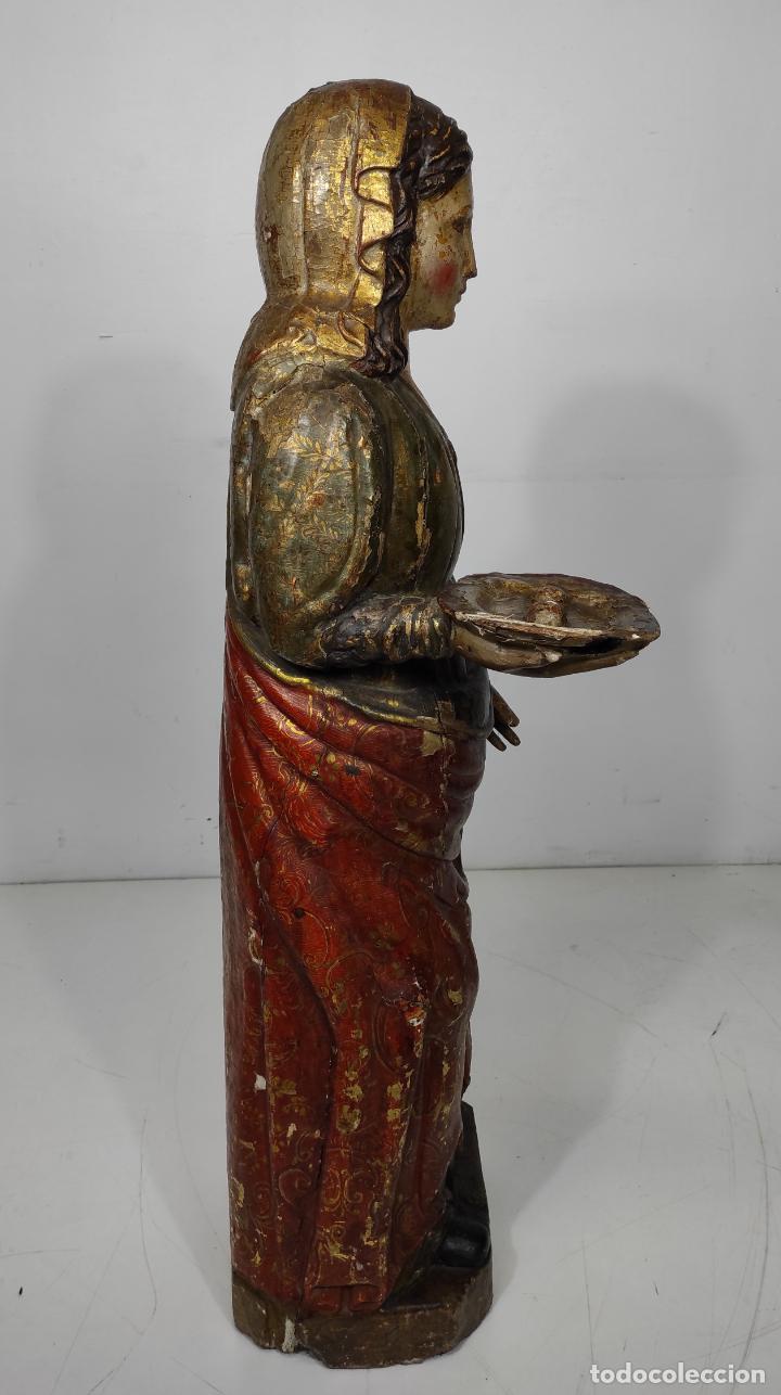 Arte: Santa Lucia - Talla de Madera Policromada y Dorada - Escuela Española - Altura 116 cm - S. XVII - Foto 16 - 234898530