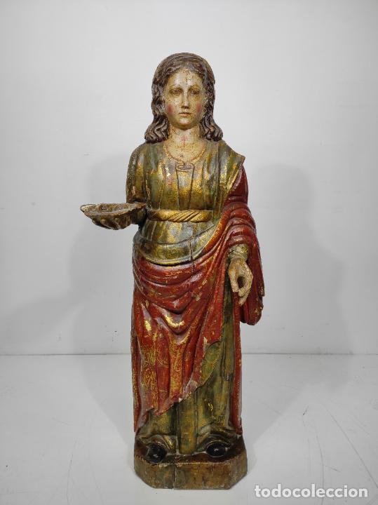 Arte: Santa Lucia - Talla de Madera Policromada y Dorada - Escuela Española - Altura 116 cm - S. XVII - Foto 22 - 234898530