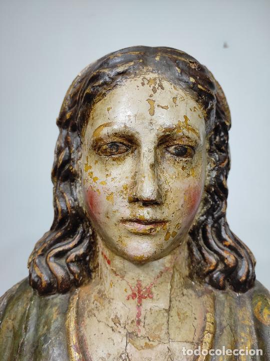 Arte: Santa Lucia - Talla de Madera Policromada y Dorada - Escuela Española - Altura 116 cm - S. XVII - Foto 27 - 234898530
