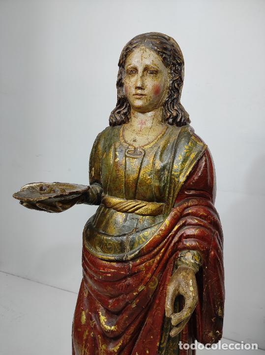 Arte: Santa Lucia - Talla de Madera Policromada y Dorada - Escuela Española - Altura 116 cm - S. XVII - Foto 29 - 234898530
