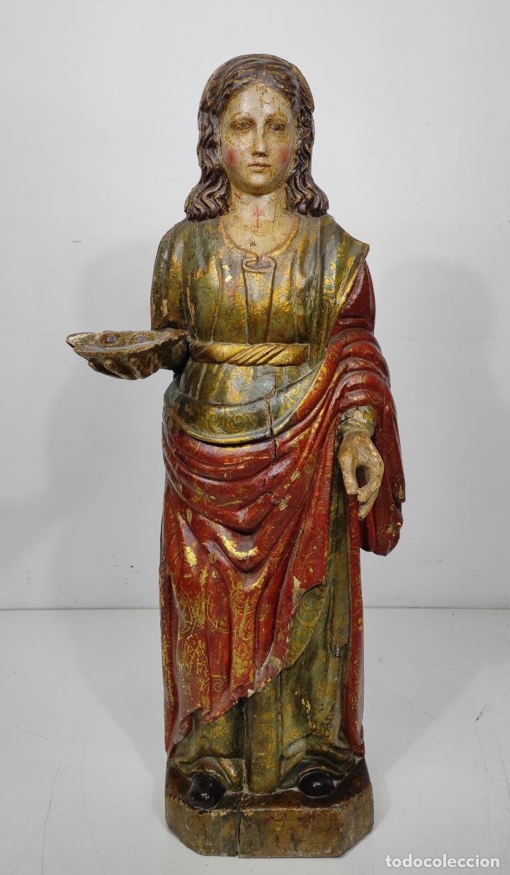 Arte: Santa Lucia - Talla de Madera Policromada y Dorada - Escuela Española - Altura 116 cm - S. XVII - Foto 30 - 234898530