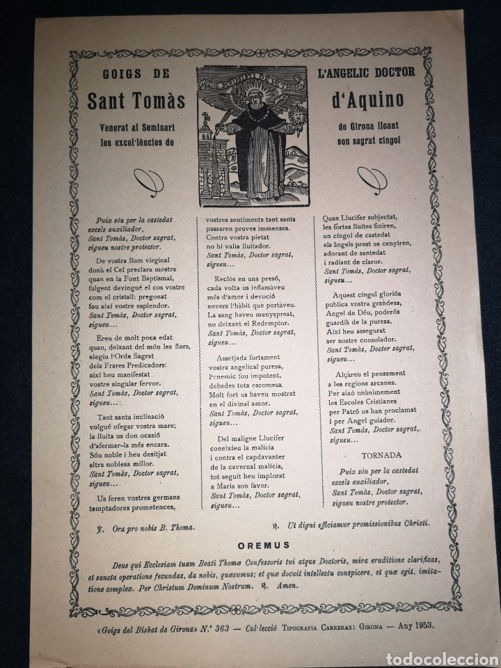 GOIGS /GOZOS - SANT TOMÀS D'AQUINO - GIRONA - ANY 1953 - 22 X 32.50 CM (Arte - Arte Religioso - Grabados)