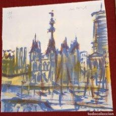 Arte: MONTESOL - LITOGRAFIA - PUERTO BARCELONA - 33X32,5CM - FIRMADA LIMITADA Y NUMERADA - 178 DE 195. Lote 234928830