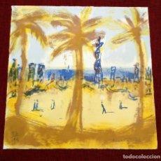 Arte: MONTESOL - LITOGRAFIA - BARCELONETA BARCELONA - 33X33CM - FIRMADA LIMITADA Y NUMERADA - 82 DE 195. Lote 234934515