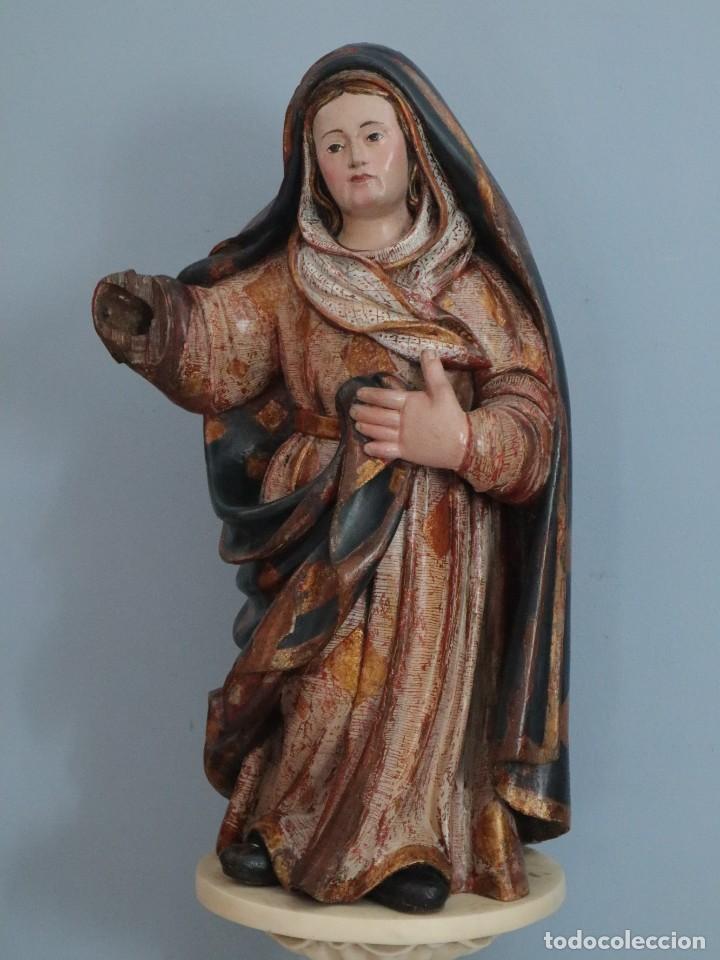 IMAGEN DE LA VIRGEN MARÍA. ESCUELA CASTELLANA DEL SIGLO XVI. MIDE 56 CM. (Arte - Arte Religioso - Escultura)