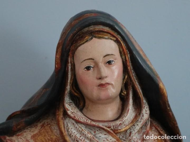 Arte: Imagen de la Virgen María. Escuela Castellana del siglo XVI. Mide 56 cm. - Foto 3 - 234986865