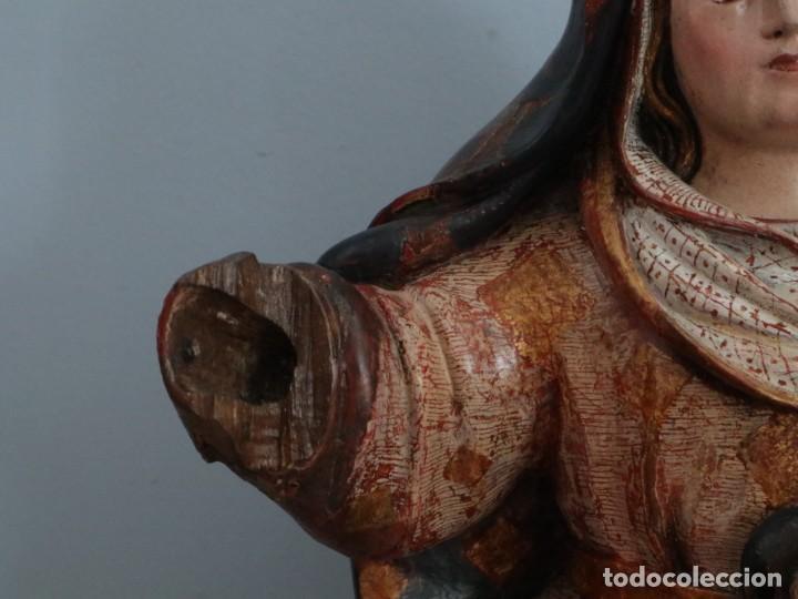 Arte: Imagen de la Virgen María. Escuela Castellana del siglo XVI. Mide 56 cm. - Foto 4 - 234986865