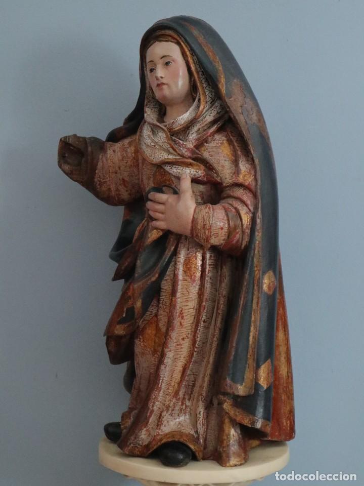 Arte: Imagen de la Virgen María. Escuela Castellana del siglo XVI. Mide 56 cm. - Foto 9 - 234986865