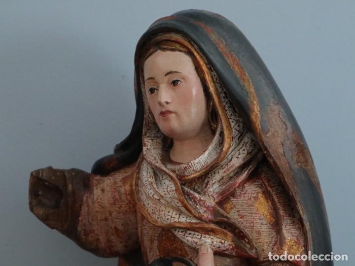 Arte: Imagen de la Virgen María. Escuela Castellana del siglo XVI. Mide 56 cm. - Foto 10 - 234986865